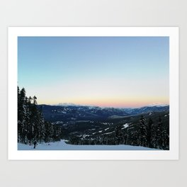 Snowboarding downhill at sunset Art Print