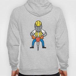 Gorilla Construction Jackhammer Cartoon Hoody