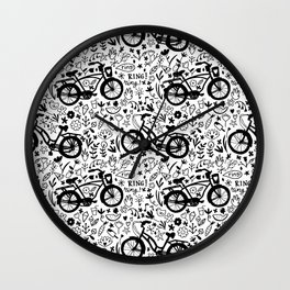 Lovely bikes in black and white Wall Clock