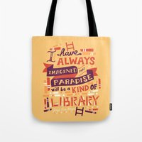 risa rodil Tote Bags featuring Library by Risa Rodil