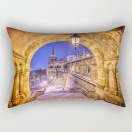 Snowy winter morning at the Fisherman's Bastion in Budapest Rectangular Pillow