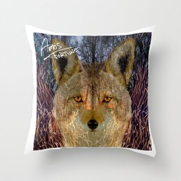 Long Night Coyote Throw Pillow