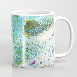 Abstract contemporary painting, aerial view of the ocean and its coral reef Coffee Mug