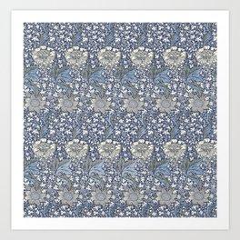 William Morris Navy Blue Botanical Pattern 7 Art Print