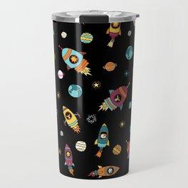 Space Ship Animals Seamless Pattern Travel Mug