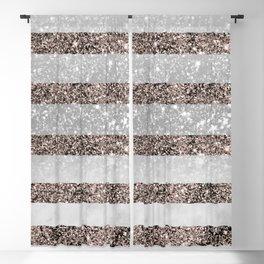White Marble Rose Gold Glitter Stripe Glam #2 #minimal #decor #art #society6 Blackout Curtain