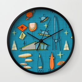 Space Age Blues Teal #spaceage Wall Clock