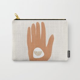 Hamsa Hand with Plant | Burnt Orange Carry-All Pouch