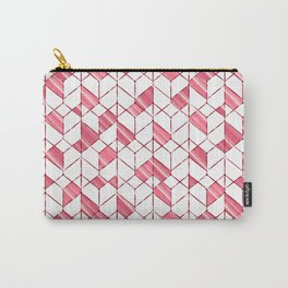 Geometric white, red pattern. Carry-All Pouch