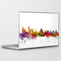 liverpool Laptop & iPad Skins featuring Liverpool England Skyline Cityscape by artPause