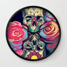 Skulls and Flowers Wall Clock