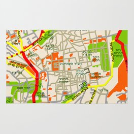 Jerusalem Map Design Rug
