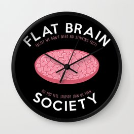 Flat brain society Wall Clock