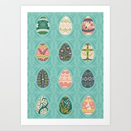 Floral Easter Eggs - Aqua Art Print