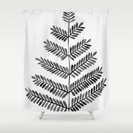 Black Leaflets Shower Curtain