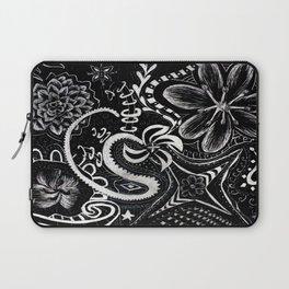 Flower Abstract Zentangle Doodle on Scratchboard (Enhanced Contrast) Laptop Sleeve
