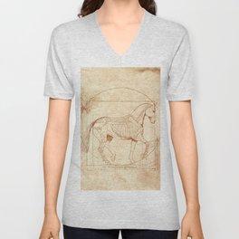 Da Vinci Horse In Piaffe Unisex V-Neck