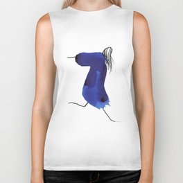 How to be a girl #8 -minimalist girl in bright blue ink Biker Tank