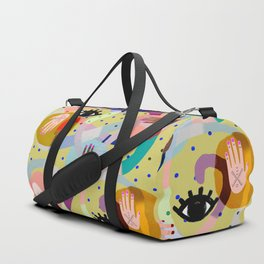 abstract evil eye , female hands, dots, love, flowers Duffle Bag