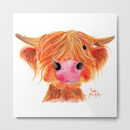 Scottish Highland Cow ' ORANGE ' by Shirley MacArthur Metal Print