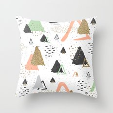 Triangles & textures watercolor Throw Pillow