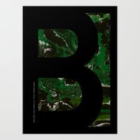 Art Print featuring Marble Dream Letter B by Joshua Fuller