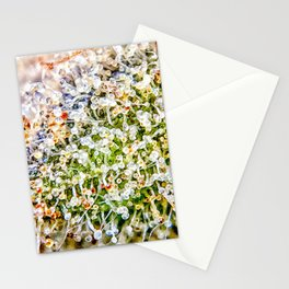 Constellation Top Shelf Bud Diamond OG Strain Trichomes Close Up View Stationery Cards