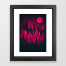 Dark Triangles (Peak Woods) Abstract Grunge Mountains Design (red/black) Framed Art Print
