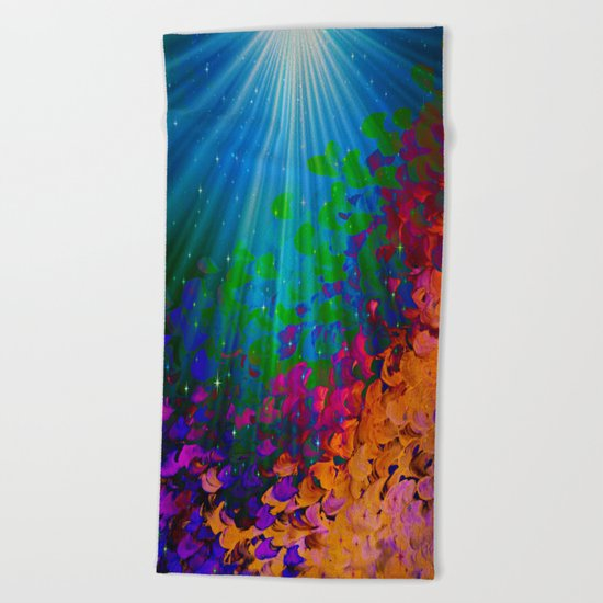 UNDER THE SEA Bold Colorful Abstract Acrylic Painting Mermaid Ocean Waves Splash Water Rainbow Ombre Beach Towel