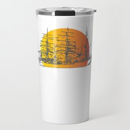 Ship Sailing to Sunset Clipper Boat Paradise Black Travel Mug