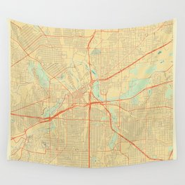 Fort Worth Map Retro Wall Tapestry