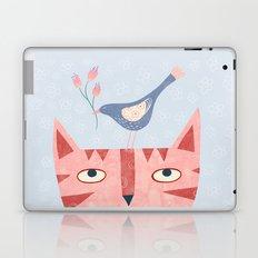Cat, bird and flower Laptop & iPad Skin