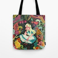 alice wonderland Tote Bags featuring Alice in Wonderland by Karl James Mountford