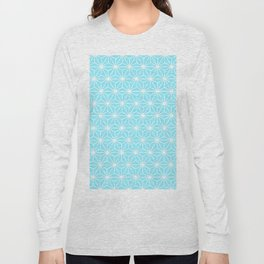 Ice Blue Geometric Flowers and Florals Isosceles Triangle Long Sleeve T-shirt