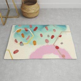 pink circle abstract dots dancing polka in rain Rug