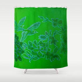 Vintage Birds And Flowers - Green and Blue Shower Curtain