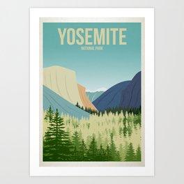 Yosemite National Park - Travel Poster -  Minimalist Art Print Art Print