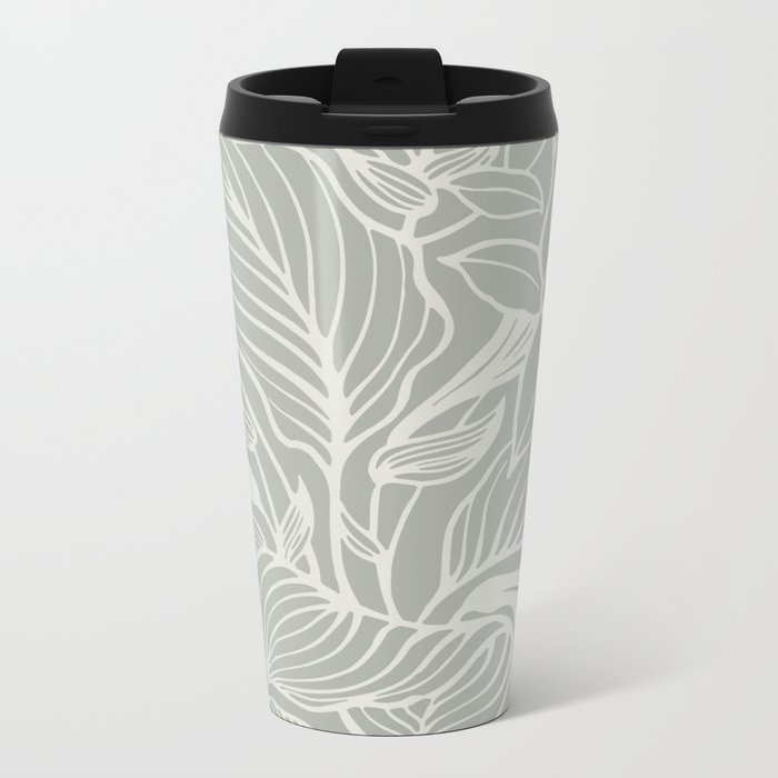 Gray Grey Floral Metal Travel Mug