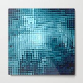 Nebula Pixels Steel Teal Blue Metal Print