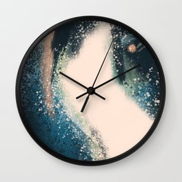 Expanse: a bold, abstract mixed media piece in blues, green, and peach Wall Clock