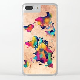 world map watercolor 5 Clear iPhone Case