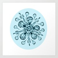 snowflake Art Prints featuring Snowflake by Laura Maxwell