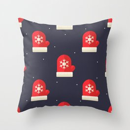 Red Christmas Gloves Pattern Throw Pillow