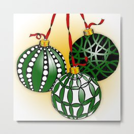 Happy Holiday Christms Ornaments Metal Print