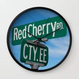 Red Cherry Road Wall Clock