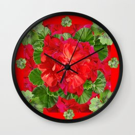 Decorative Red Flower Geraniums Green Leaves Abstract Wall Clock