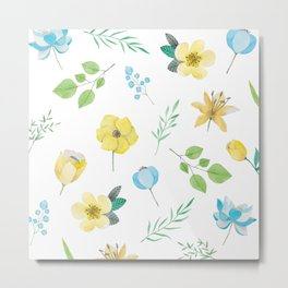 floral pattern with yellow flowers Metal Print
