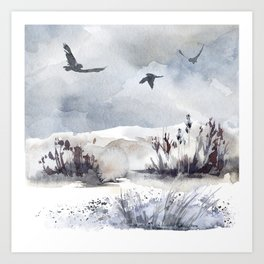 Soaring Above Sandy Beaches Against Stormy Skies Art Print