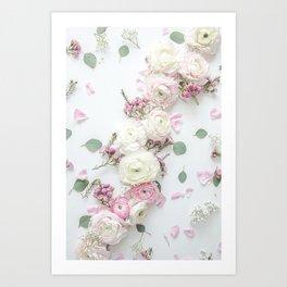 SPRING FLOWERS WHITE & PINK Art Print