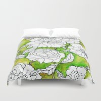 peonies Duvet Covers featuring Peonies by Dheiuk